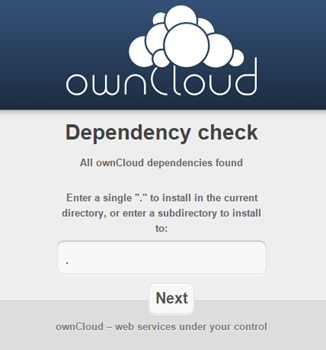 ownCloudインストール画面